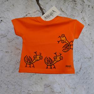 Mahcabra-camiseta niño-naranja-bichitos